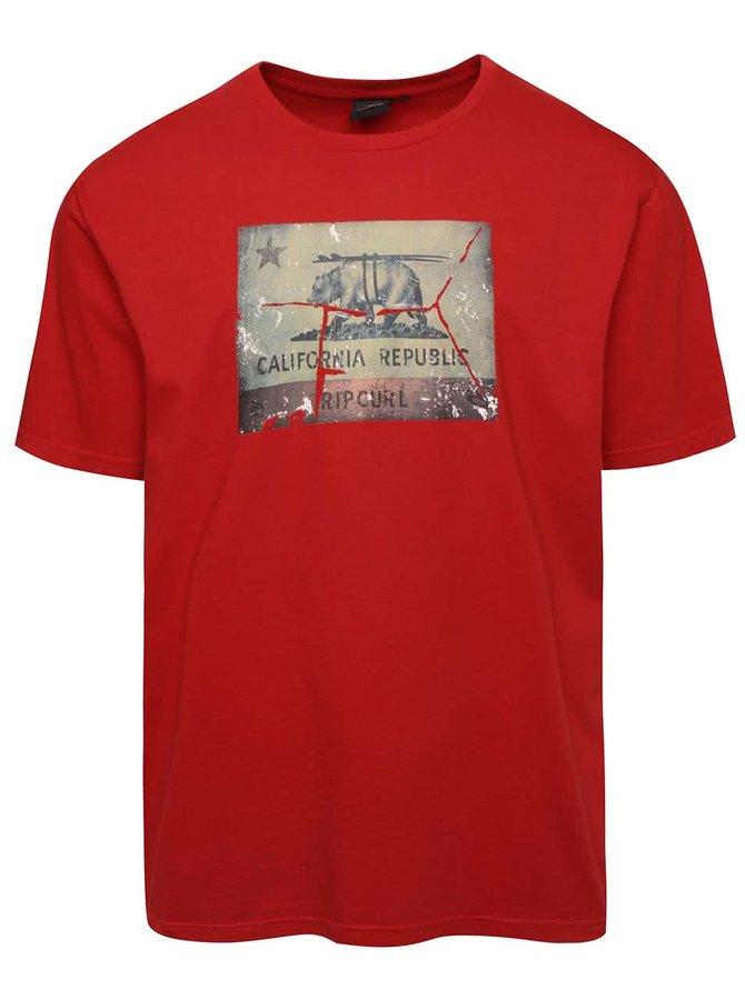 Tricou roșu cu print Rip Curl Blur Lines SS Tee