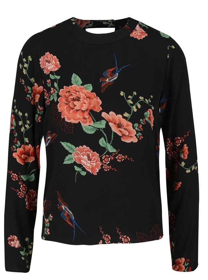 Čierna blúzka so vzorom kvetín a voľným chrbtom Dorothy Perkins