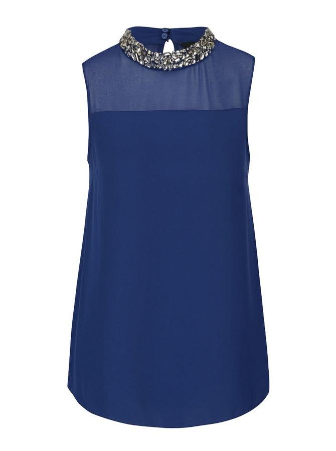 Modrá blúzka s ozdobným dekoltom Dorothy Perkins
