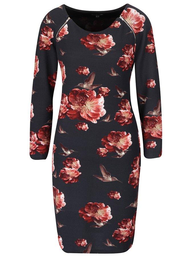 Čierne kvetované šaty so zipsom a dlhým rukávom Smashed Lemon
