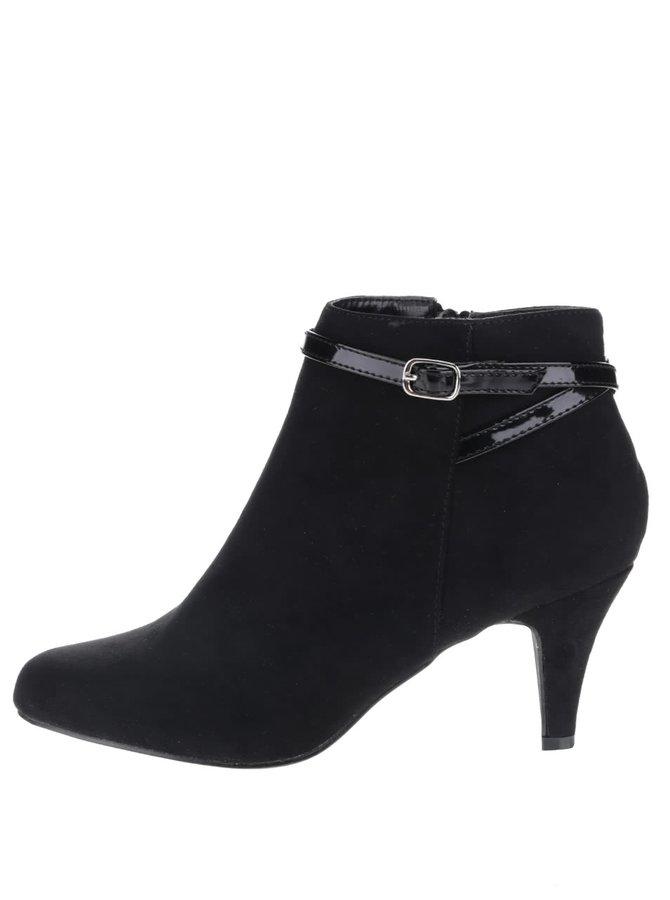 Černé kotníkové boty na úzkém podpatku Dorothy Perkins