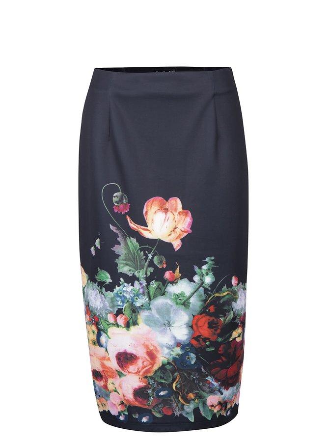 Černá midi sukně s květovaným potiskem Smashed Lemon