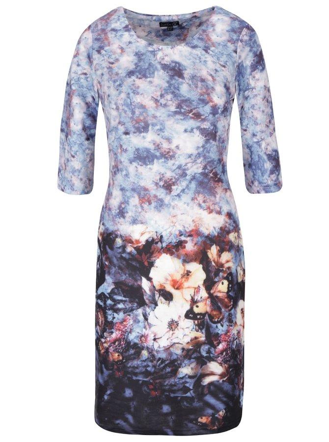 Modro-vzorované šaty s okrúhlym výstrihom a 3/4 rukávmi Smashed Lemon
