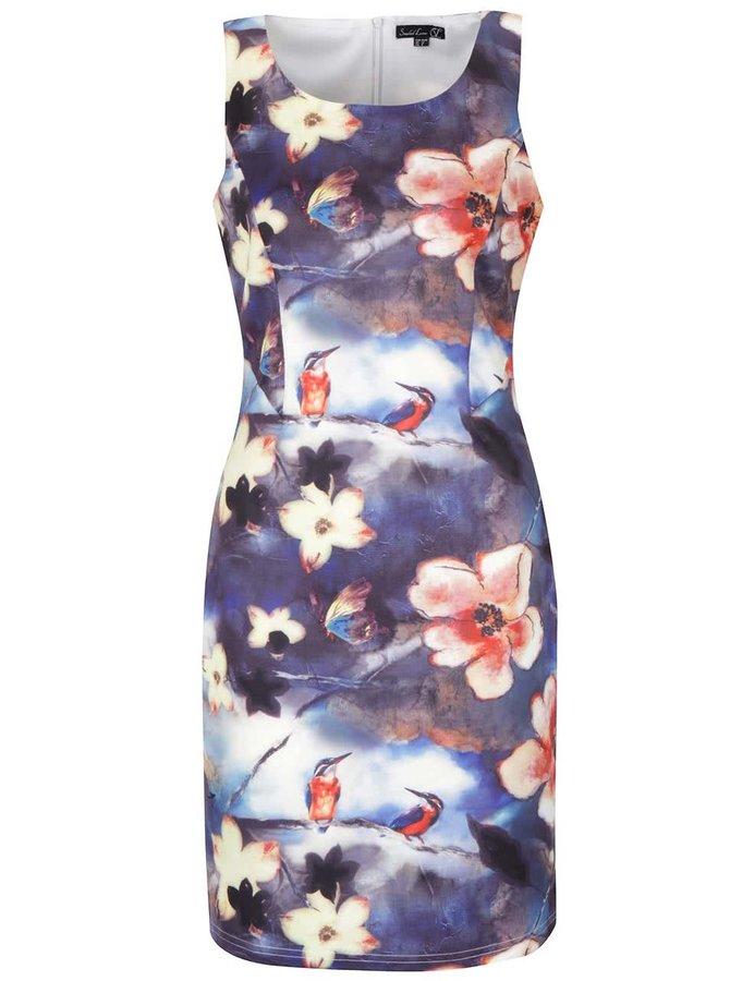 Modré kvetované šaty bez rukávov Smashed Lemon