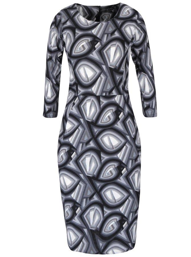 Černo-šedé vzorované šaty s 3/4 rukávy Smashed Lemon