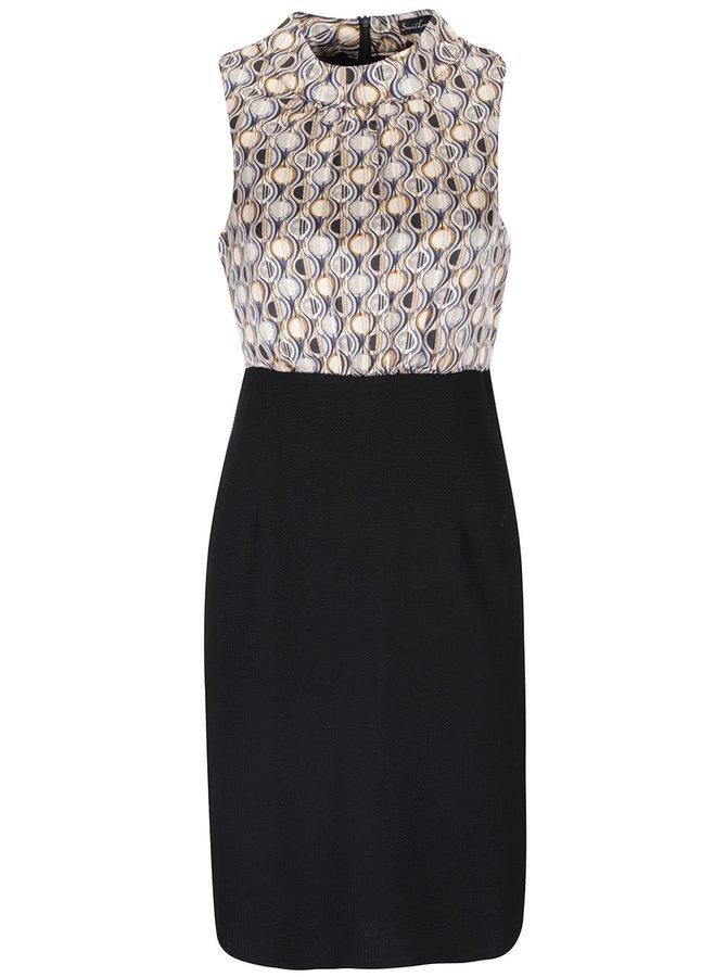 Hnedo-čierne vzorované šaty so stojačikom Smashed Lemon