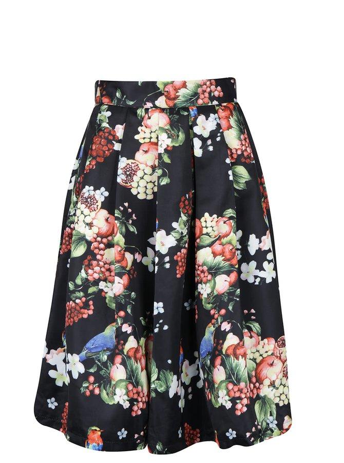 Čierna skladaná sukňa s potlačou kvetín a vtákov Smashed Lemon