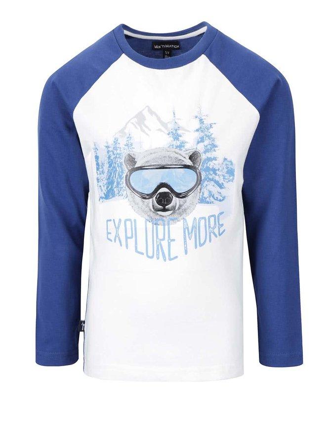 Modro-krémové chlapčenské tričko s dlhým rukávom Mix´n Match