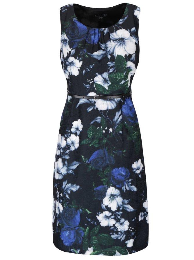 Černé květované šaty s páskem Smashed Lemon