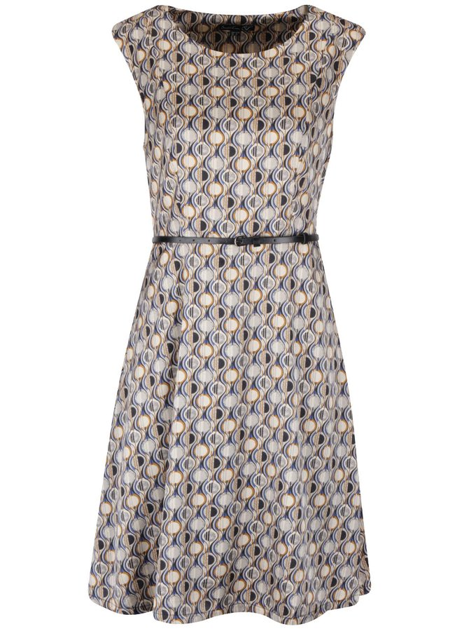 Svetlohnedé vzorované šaty s opaskom Smashed Lemon