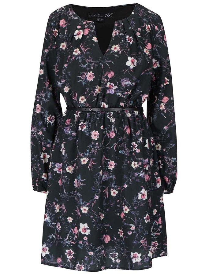 Čierne kvetované šaty s opaskom a dlhým rukávom Smashed Lemon