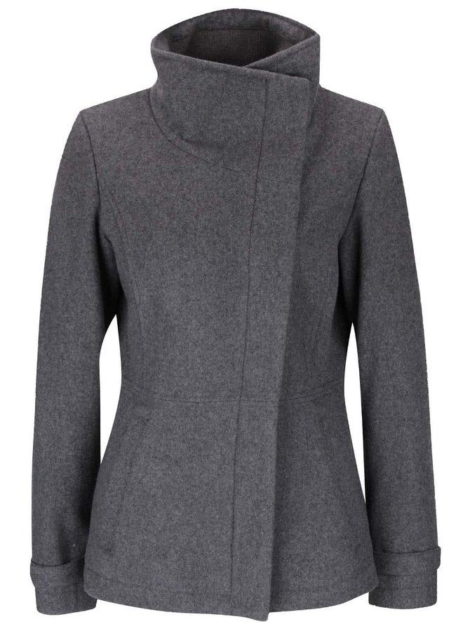 Tmavě šedý dámský kabát s vysokým límcem s.Oliver