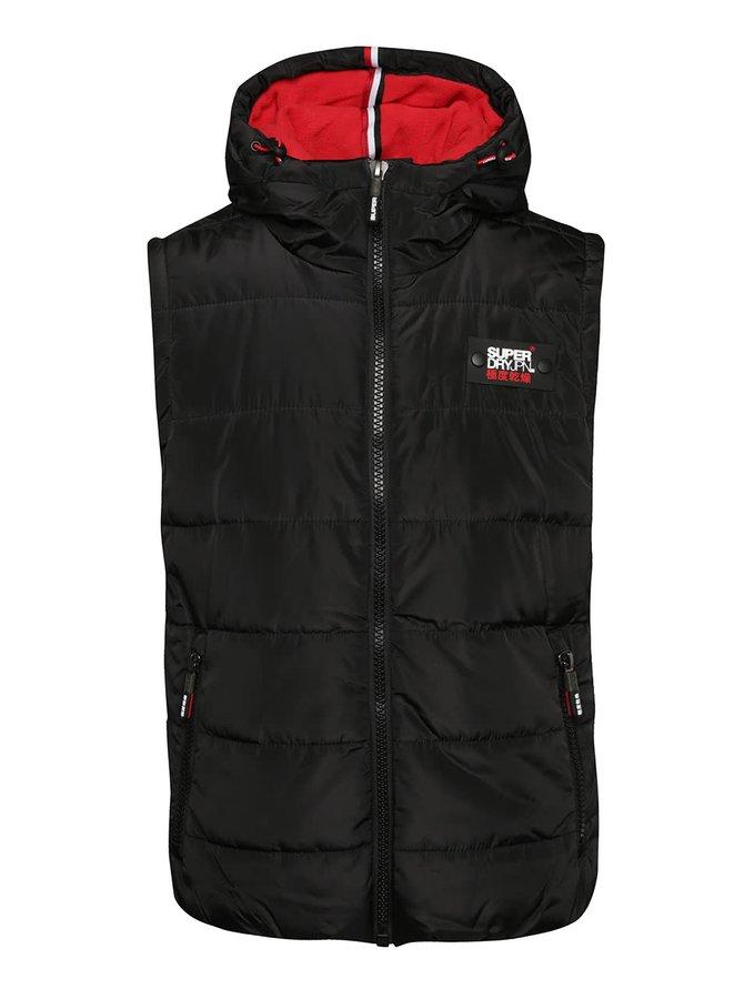 Čierna pánska prešívaná vesta s kapucňou Superdry