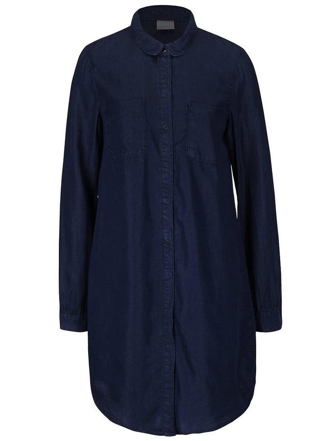 Tmavomodrá dlhšia košeľa Vero Moda Nanna