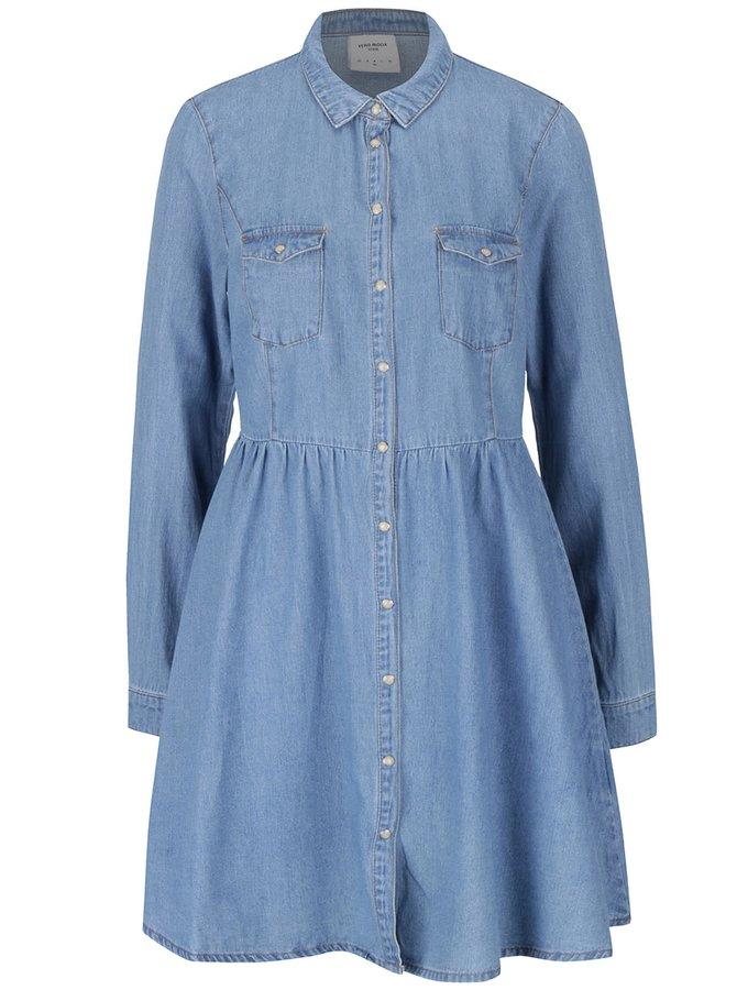 Modré rifľové košeľové šaty VERO MODA Silla