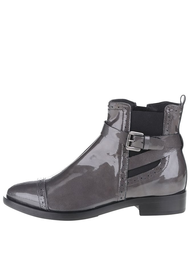 Tmavosivé kožené členkové topánky Geox Donna Brogue