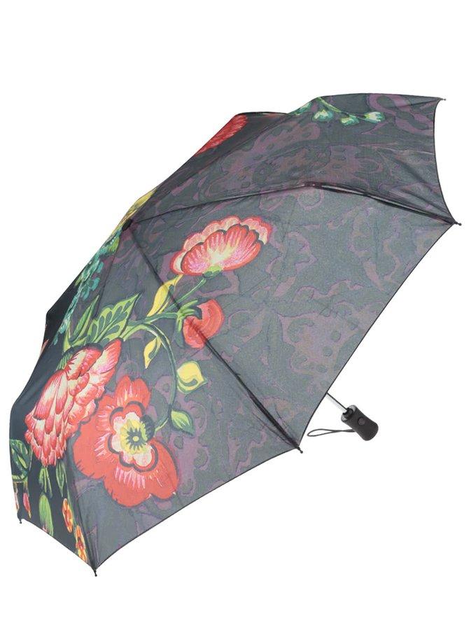 Šedý deštník s barevnými květy Desigual Britania