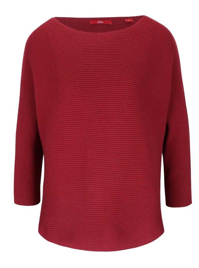Vínový dámsky sveter s trojštvrťovými rukávmi s.Oliver