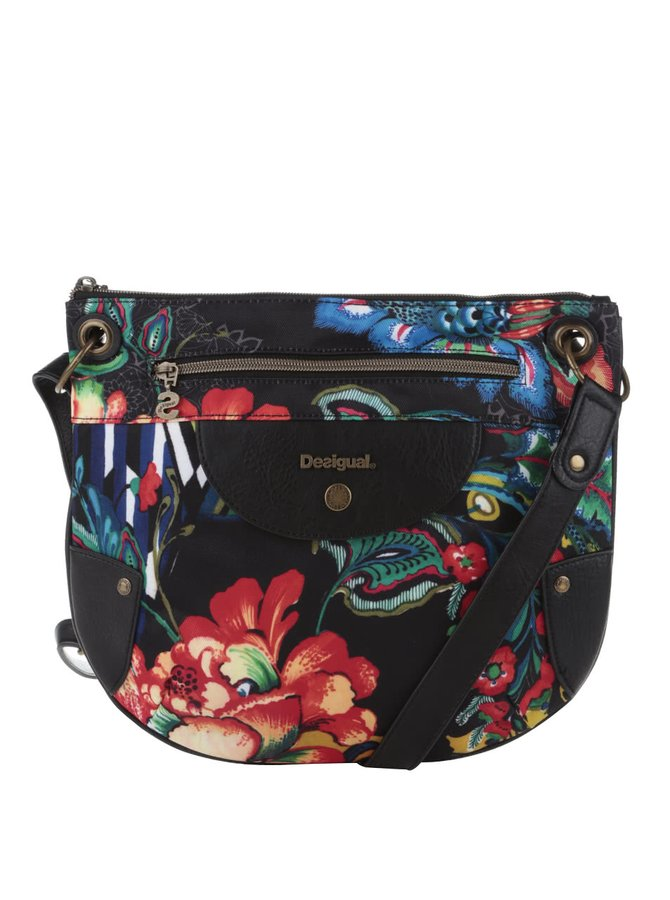 Čierna crossbody kabelka s farebnými kvetmi Desigual Brooklyn Dunia