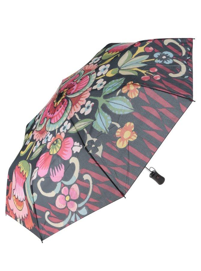 Černý květovaný deštník Desigual Ikara