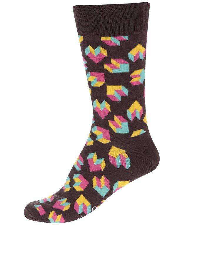 Șosete maro Happy Socks Steps cu imprimeu pentru bărbați