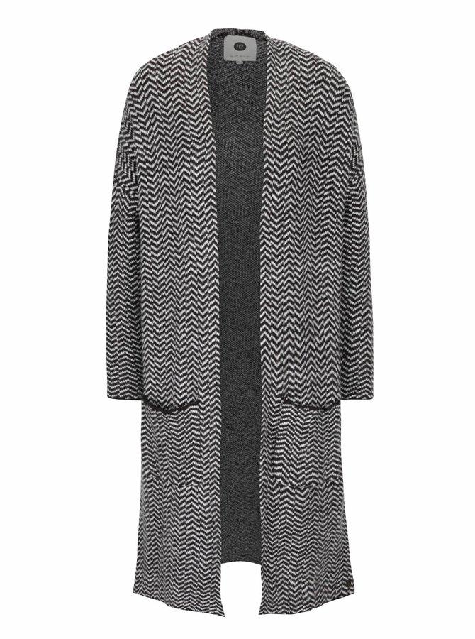 Sivo-čierny dámsky vzorovaný kardigán PEP Fawn