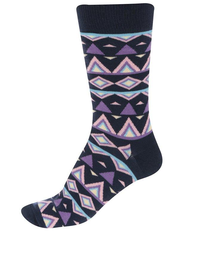 Tmavě modré pánské ponožky se vzorem Happy Socks Temple