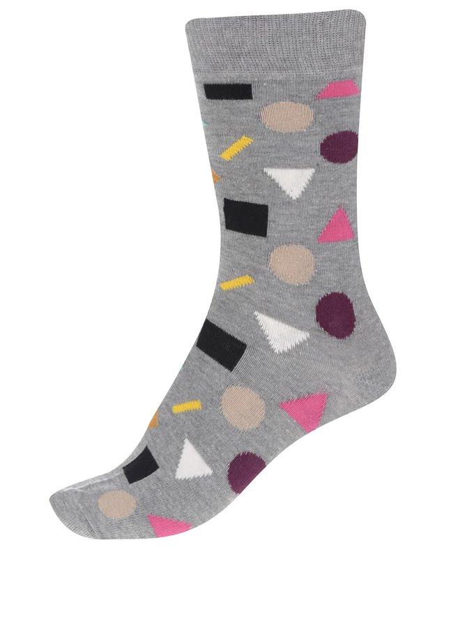 Sivé dámske ponožky so vzorom Happy Socks Play