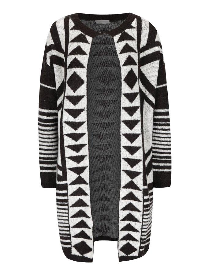 Cardigan negru cu crem PEP Firth cu model geometric