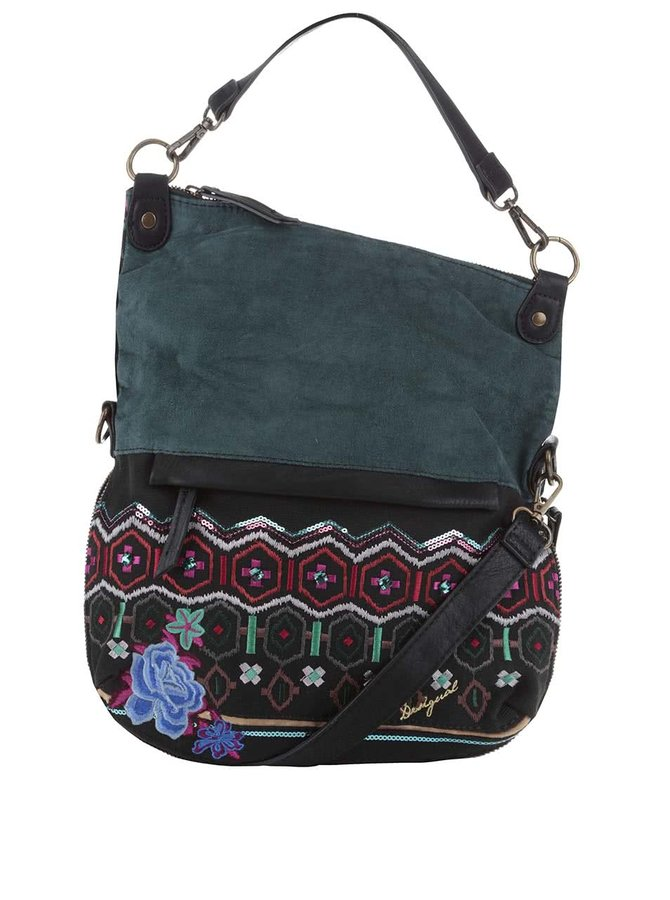 Geantă crossbody verde Desigual Folded Eternal cu model