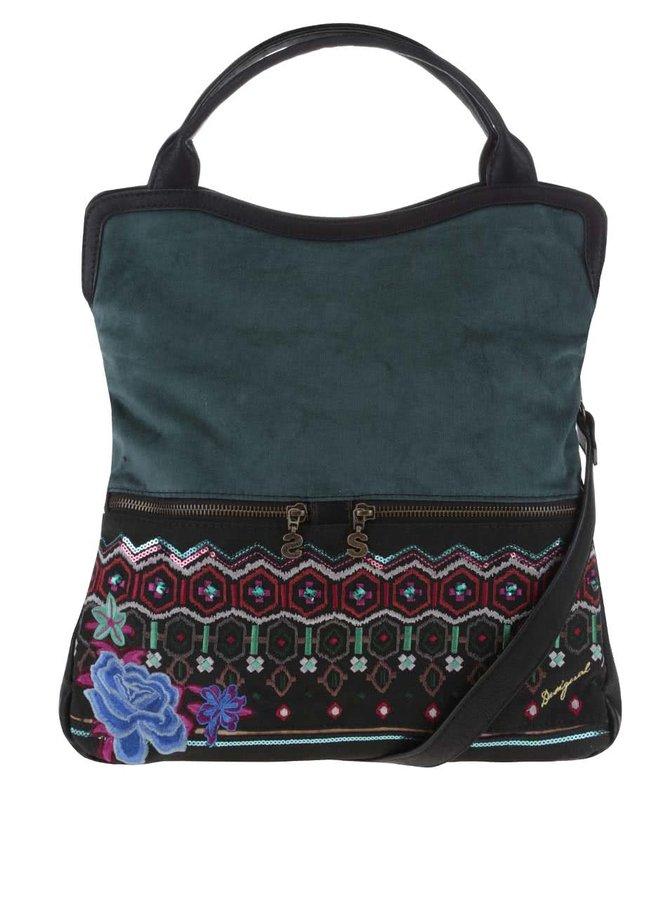 Černo-zelená kabelka s barevnými kamínky Desigual Cordoba Eternal