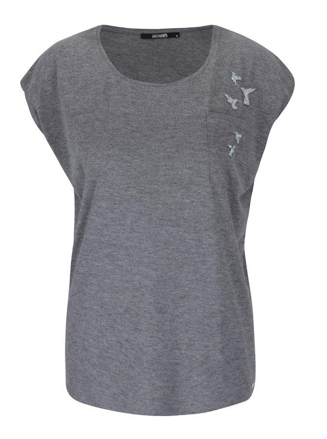 Tmavosivé dámske tričko s aplikáciou Haily's Bird