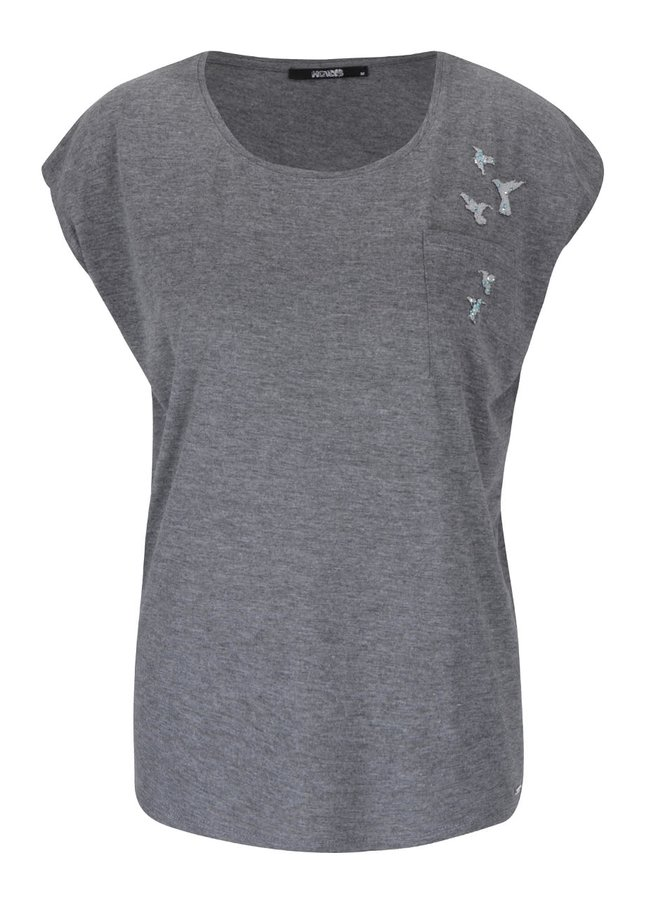Tricou gri închis Haily´s Bird cu aplicații