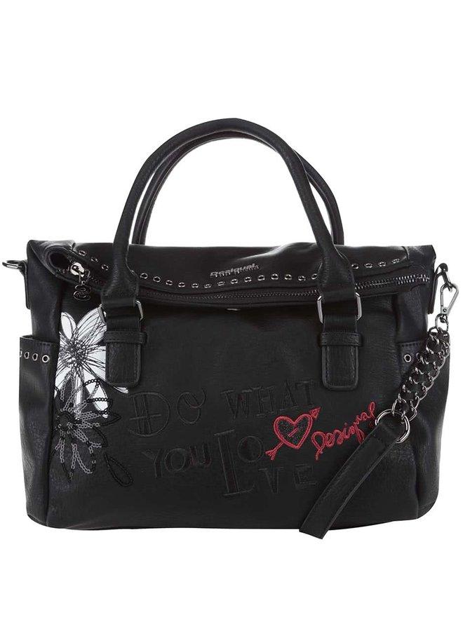Černá kabelka s bílým květem Desigual Liberty Black Daisy