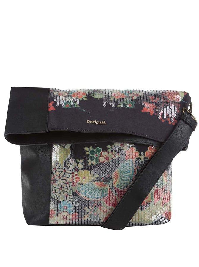 Černá crossbody kabelka s motýlky a flitry Desigual Ibiza Felicia