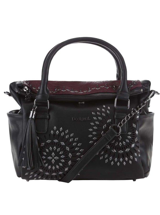 Vínovo-čierna kabelka s kovovými detailmi Desigual Liberty Luxury Dreams