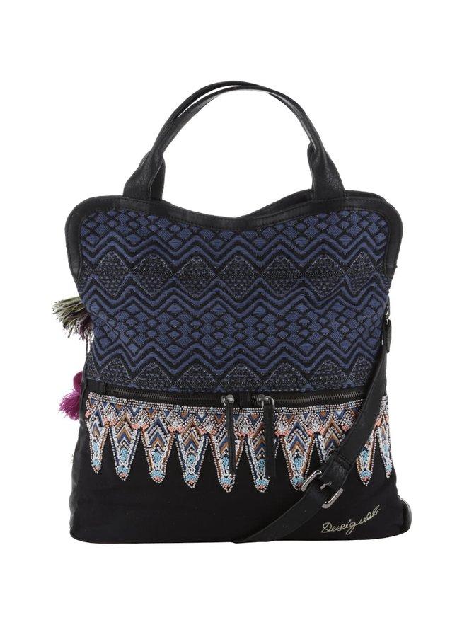 Černo-modrá kabelka s barevnými korálky Desigual Cordoba Uma