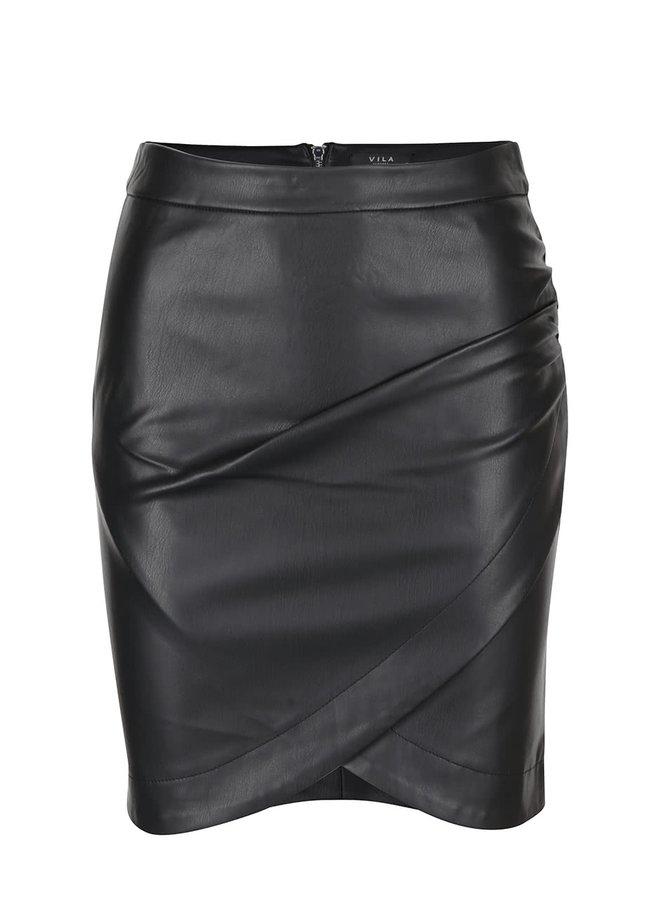 Černá koženková sukně s překládanou přední stranou VILA Overlap