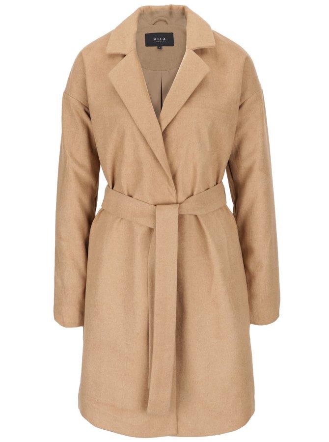 Svetlohnedý kabát s opaskom VILA Seoul
