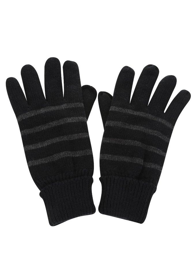 Čierne pruhované rukavice Blend