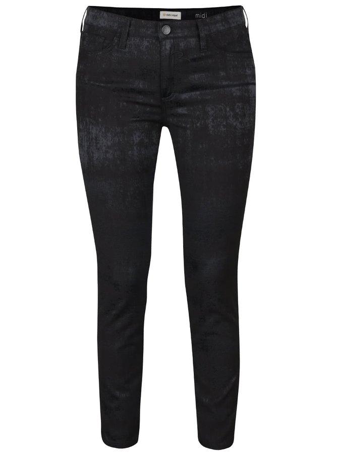 Černé skinny kalhoty s jemným lesklým vzorem  Rich & Royal