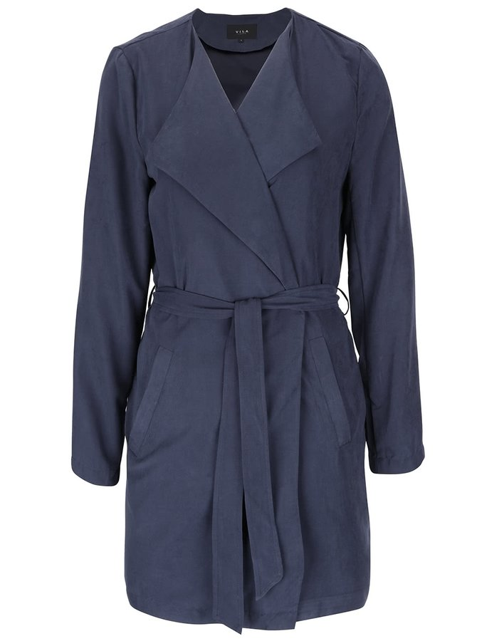 Tmavomodrý ľahký kabát s opaskom VILA Can