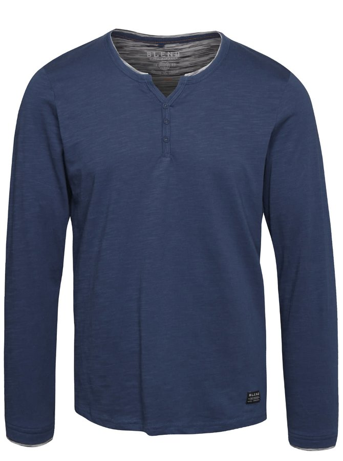 Modré tričko s dlhým rukávom Blend