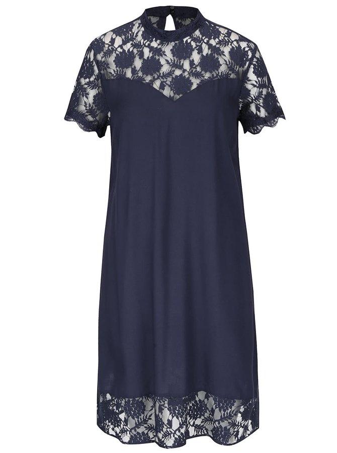 Tmavě modré šaty s krajkovanými detaily VILA Tiya