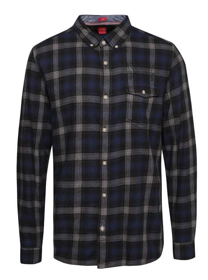 Tmavomodrá pánska kockovaná košeľa s.Oliver