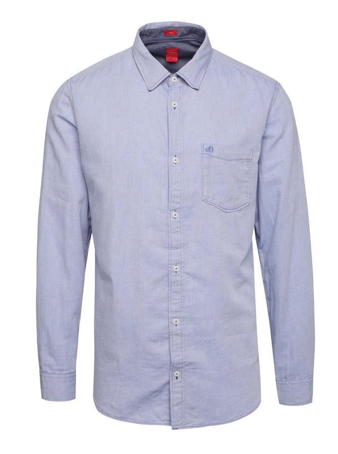 Modrá pánska slim-fit košeľa so vzorom s.Oliver