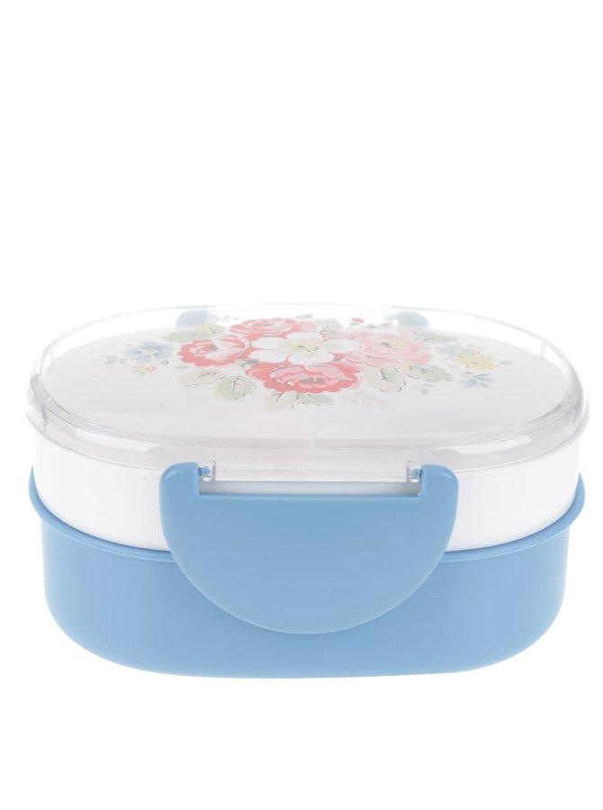 Bílo-modrá plastová krabička na jídlo s květovaným víčkem Cath Kidston