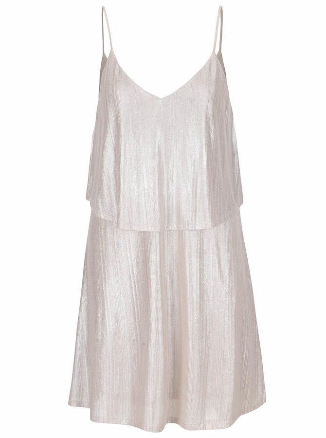 Krémové trblietavé šaty VILA Pol