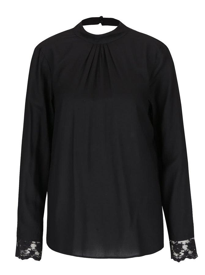 Bluză neagră VILA Meta cu detalii din dantelă