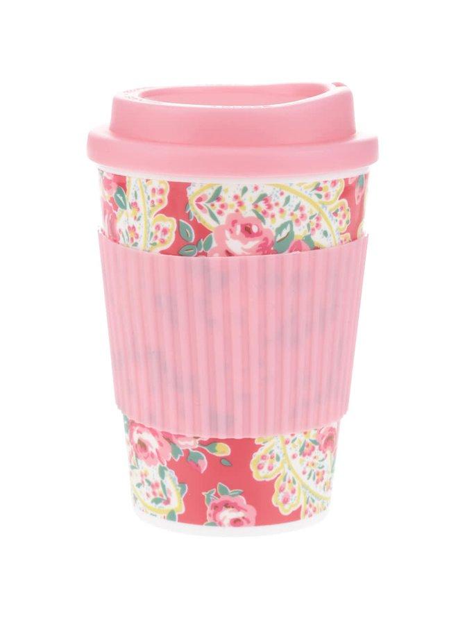 Růžový květovaný cestovní hrnek Cath Kidston